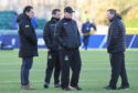 Glasgow Warriors head coach Dave Rennie (left) with assistant coaches Kenny Murray, Jason O'Halloran and  Jonathan Humphreys.