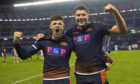 Edinburgh's Blair Kinghorn (L) and Grant Gilchrist celebrate at full-time.
