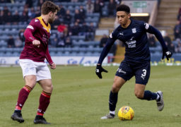 Andrew Stirling faces up to Nathan Ralph of Dundee.