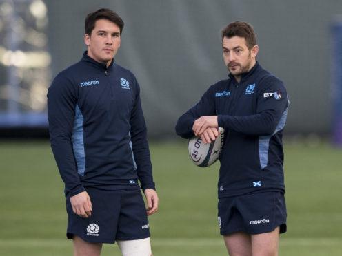 Scotland's new cap Sam Johnson with captain Greig Laidlaw (right).