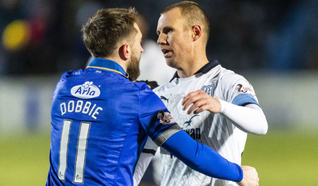 Kenny Miller with Queens hat-trick hero Stephen Dobbie at full time on Tuesday night.