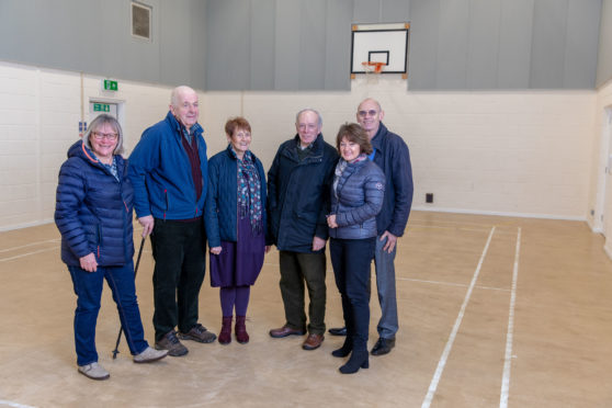 Margaret Cumming, David Lord, Hilary Cook, Peter Cook, Peter Daniels and Jill Saunders in the main hall