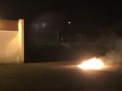 A picture of the fire in the playground was posted on Twitter by local officers.