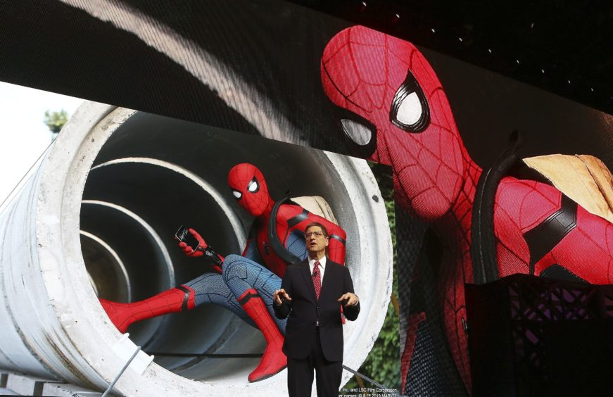 Tom Rothman, chairman of Sony Pictures Entertainment, talks about the new Spider-Man movie and other releases at the Sony news conference.