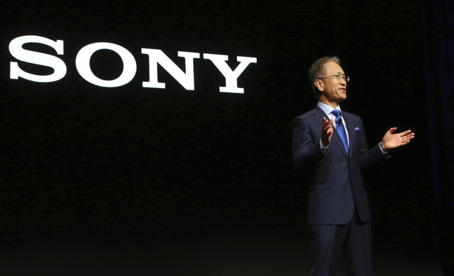 Sony President and CEO Kenichiro Yoshida speaks at the Sony news conference.