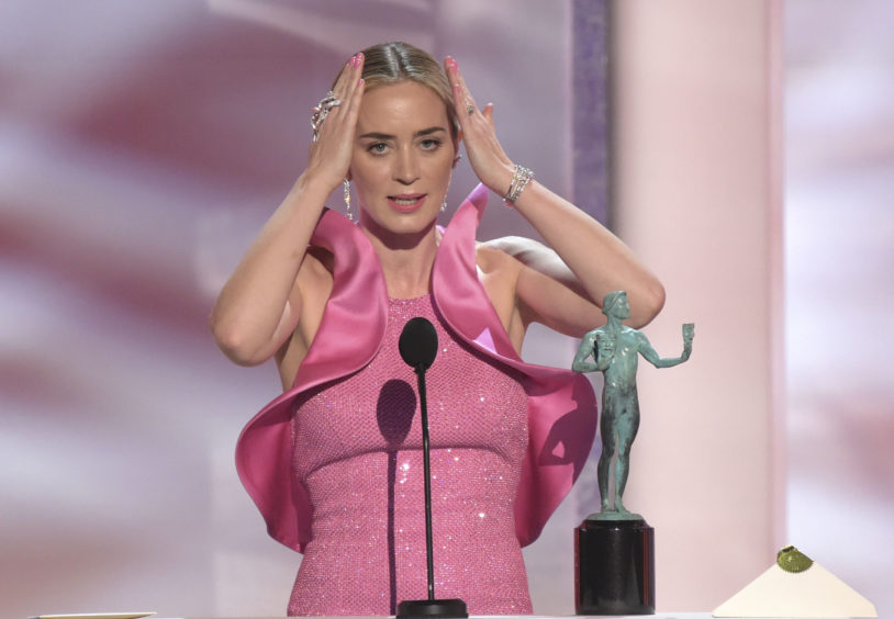 Emily Blunt accepts the award for Outstanding Performance by a Female Actor in a Supporting Role for A Quiet Place.
