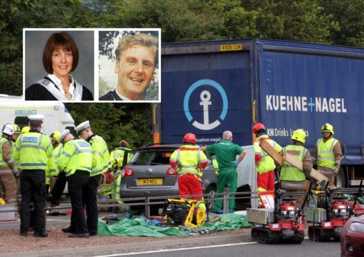 The scene of the crash in 2011 Inset: Jane Cumming and Neil Cumming