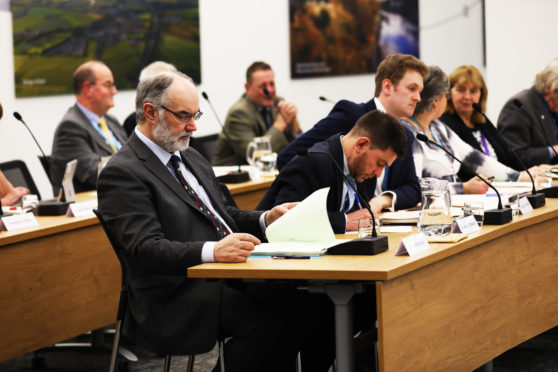 Perth and Kinross Council held a meeting to discuss the new budget. Picture shows; Deputy Leader of Perth and Kinross Council Murray Lyle just as the meeting was away to begin. Thursday 22nd February.