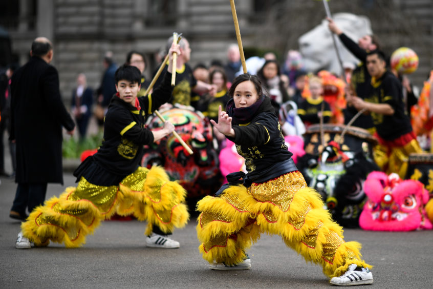 Dancing and displays were watched by hundreds of spectators.