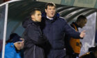 St Johnstone manager Tommy Wright with fourth official, Andrew Dallas.