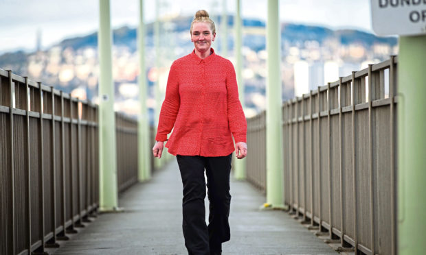 Babs Mair, who has lost over 10 stone in weight by walking across the Tay Road Bridge every day.