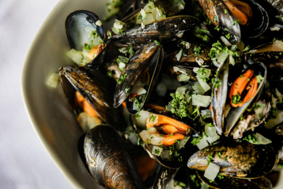 Fresh steamed mussels from Shetland at But'n' Ben in Auchmithie. Picture: Kris Miller/DCT Media.