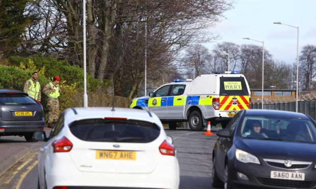 The road block in place after the grenade was handed into Leuchars Station.