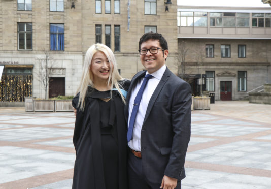 Vangela and Stéfano at graduation day at The Caird Hall in November 2018