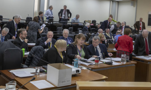 The council chambers ahead of the budget meeting.