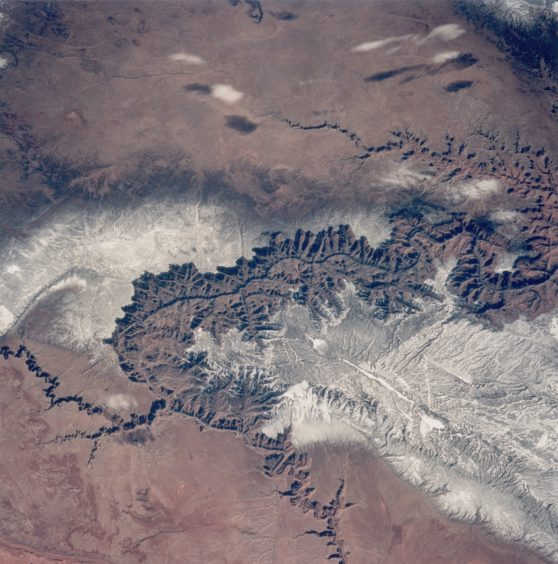 The Grand Canyon in Arizona, as seen from the space shuttle Discovery during NASA's STS-60 mission, February 1994.