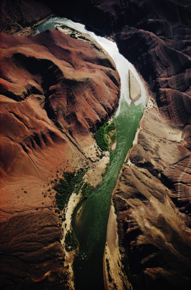 An aerial view of the Colorado River near the Grand Canyon, Arizona, USA, circa 1970.