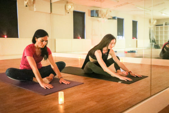 Gayle tries hot yoga with Keryn Ward at Hot House Yoga in St Andrews,