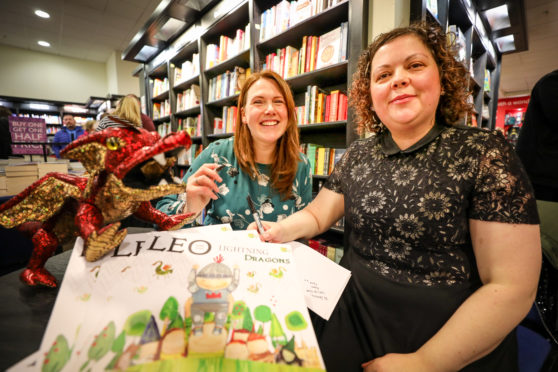 Pic shows; Gill White and illustrator Gilli B (Gillian Barrie) with the book, Leo and the Lightning Dragons.