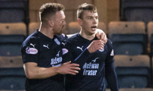 Andrew Nelson, right, is congratulated by Craig Curran after scoring his second goal against Kilmarnock last week.