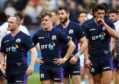 (L-R): Scotland's Nick Grigg, Darcy Graham, Tommy Seymour and Adam Hastings look dejected at full-time in Paris.