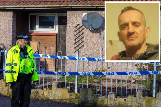 Police outside the property in Kirkcaldy where Kevin Byrne (inset) was found dead.