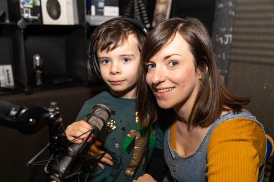 Dr Kate Arrow and son Alasdair Gray,6, at the recording of the podcast for child patients to share their experiences