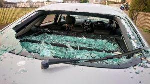 The damaged car.