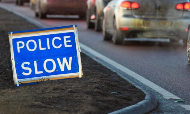 Debris on the road is causing delays on the A90.