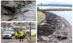 The oil spill at Limekilns.
