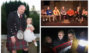 Scott Petrie with granddaughter Grace (left) and the cast of Middle O' Nowhere: A Bothy Haunting (right).