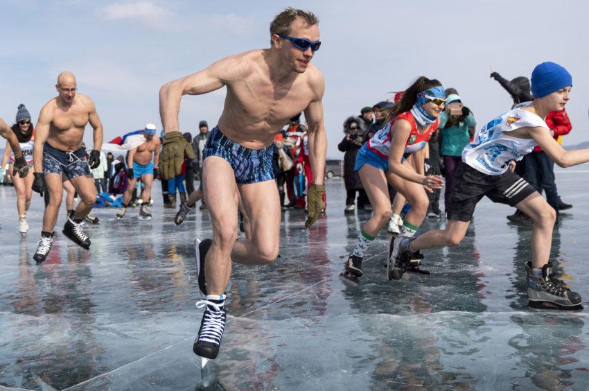 Participants in the 2019 Baikal International Ice Skating Marathon on the frozen Lake Baikal, the world's deepest freshwater lake.