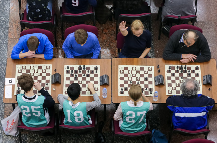 Participants in the final stage of the 2019 White Rook chess tournament at the Hall of Glory of the Museum of the Great Patriotic War (Victory Museum).