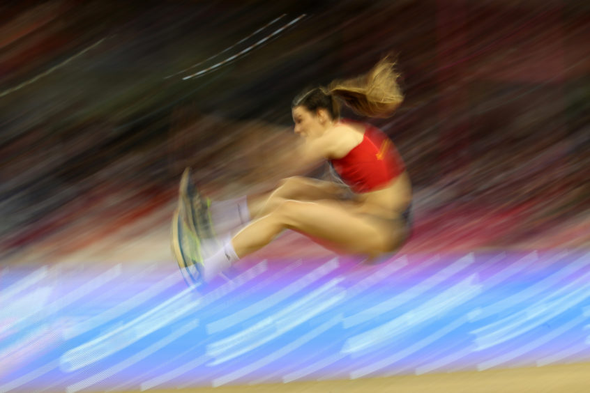 Ivana Spanovic of Serbia in action during the final of the women's long jump on day three of the 2019 European Athletics Indoor Championships at Emirates Arena in Glasgow.