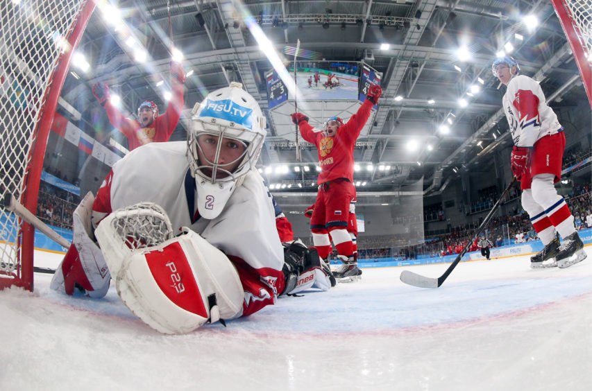 The Czech Republic's goalie Ondrej Horvath in the men's Preliminary Round Group A ice hockey match against Russia at the 2019 Winter Universiade at Crystal Ice Arena.