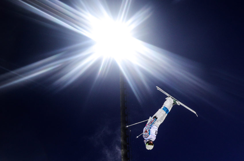 Nikita Novitckii of Russia competes in the men's freestyle skiing moguls event at the Krasnoyarsk 2019 Winter Universiade.