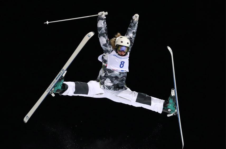 Freestyle skier Yelizaveta Bezgodova of Russia competes in the women's freestyle skiing dual moguls event at the Krasnoyarsk 2019 Winter Universiade