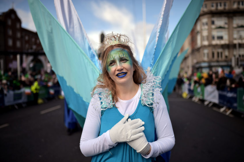 Festival participants take part in the annual Saint Patrick's Day parade on March 17, 2019 in Dublin,