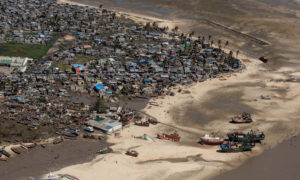 An aerial view of a neighbourhood affected by Cyclone Idai.