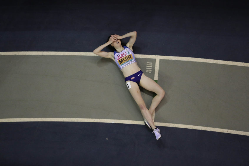 Laura Muir of Great Britain reacts after she wins the Women's 3000m final during Day One of The European Athletics Indoor Championships at Emirates Arena in Glasgow,.