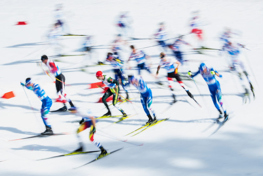 A general view as athletes compete in the Men's Cross Country 50k race during the FIS Nordic World Ski Championships  in Seefeld, Austria..