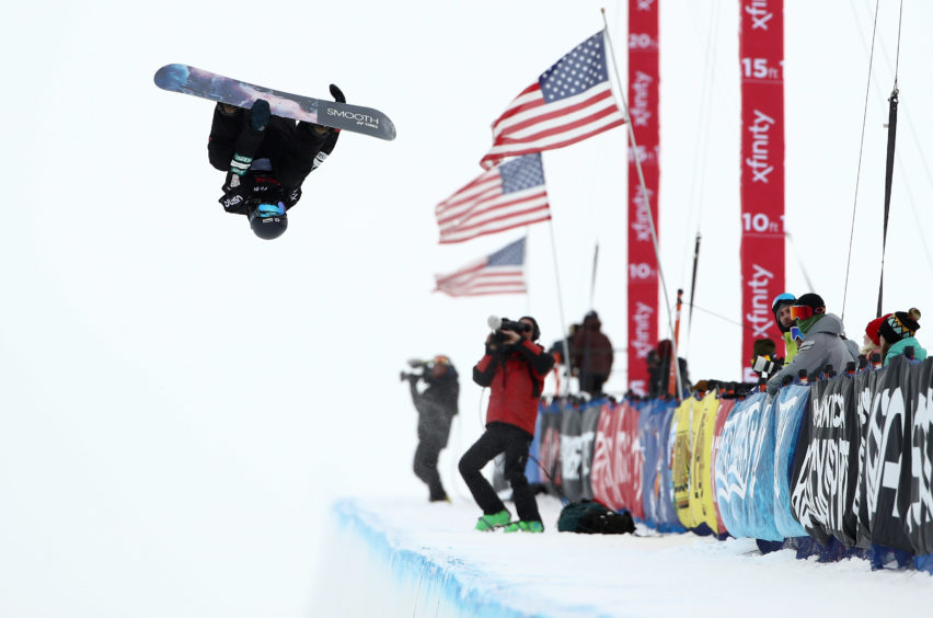 Ruka Hirano of Japan competes in the Snowboard Halfpipe Finals at the 2019 U.S. Grand Prix at Mammoth Mountain
