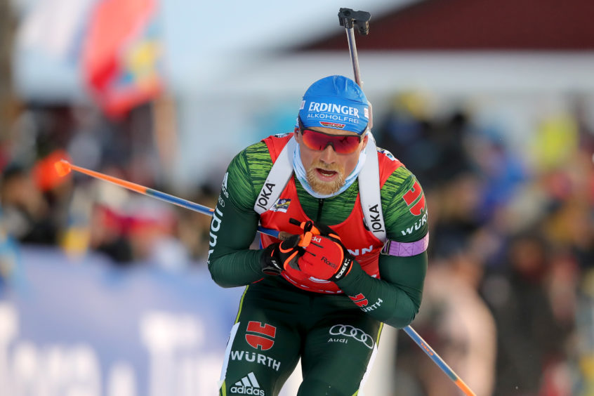 Erik Lesser of Germany competes at the IBU Biathlon World Championships Men's Pursuit at Swedish National Biathlon Arena on March 10, 2019 in Ostersund, Sweden.