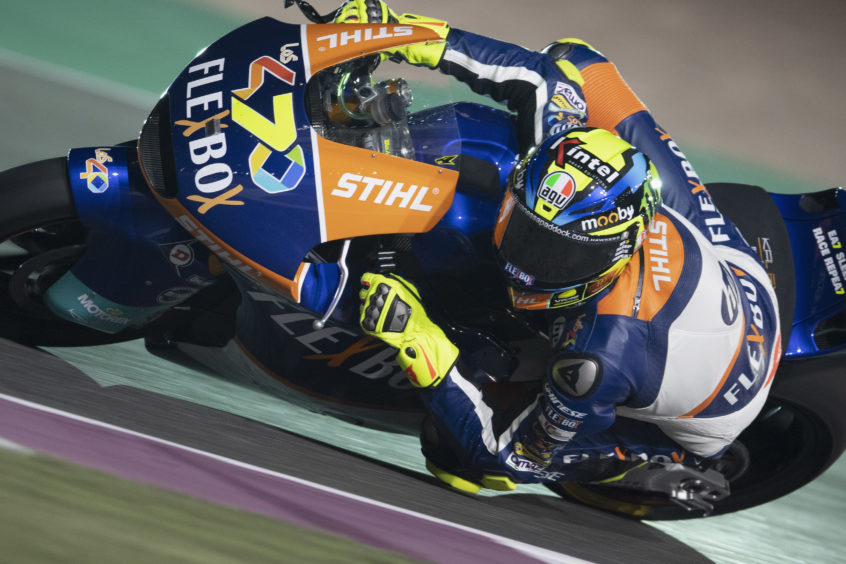 Lorenzo Baldassarri of Italy and FlexBox HP40  rounds the bend during the Moto2 race during the MotoGP of Qatar - Race at Losail Circuit on March 10, 2019 in Doha, Qatar.
