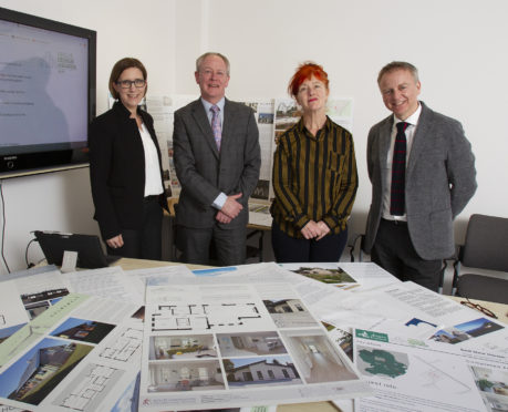 Angus Council planning and communities service leader Kate Cowey left) with award judges Graham Brown, Lucy Byatt and Philip Long