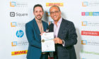 David Rundle from Blue Star with Theo Paphitis from Dragons Den after the firm was recognised in his Small Business Sunday campaign