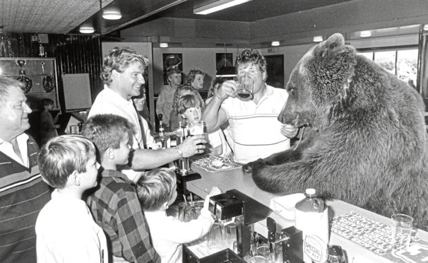 Hercules in Dundee's Powrie Bar in 1988, with owner Andy Robins and bar owner Tom Lees.