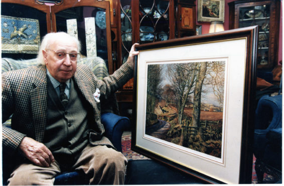 James McIntosh Patrick with one of his paintings