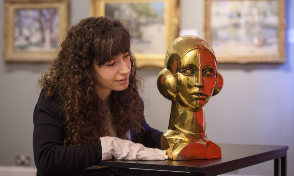 Lyon and Turnbull Gallery Manager Arianna Pedrazzoli with the bronze bust of Eastre (Hymn to the Sun) which is estimated £30000-50000 by John Duncan Fergusson, which will appear in its spring exhibition at their Glasgow auction house to celebrate the 'Auld Alliance' between Scotland and France.