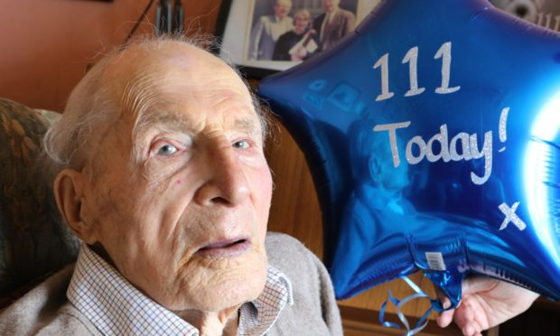 Alf Smith, from St Madoes, celebrates his 111th birthday at home.